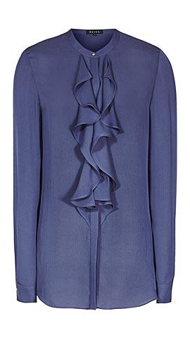 Reiss Pippin RUFFLE-FRONT SHIRT CORNFLOWER BLUE