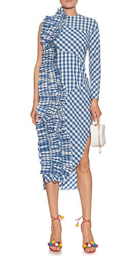 AWAKE Ruffle-trim gingham sleevless dress