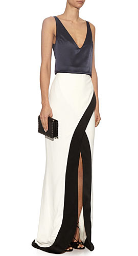 Galvan Contrast crepe and satin gown