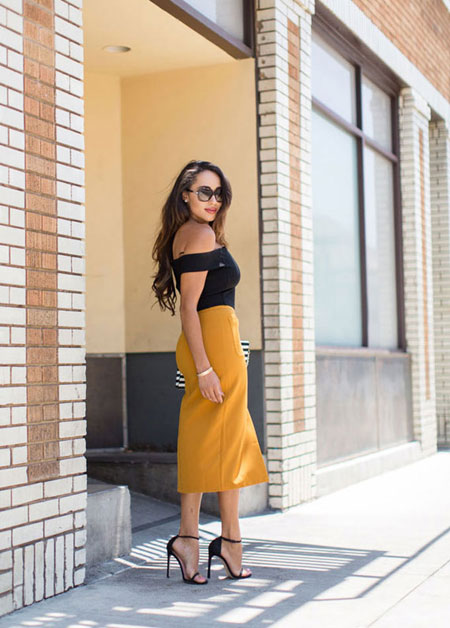 how to wear off the shoulder top - vibrant midi dress