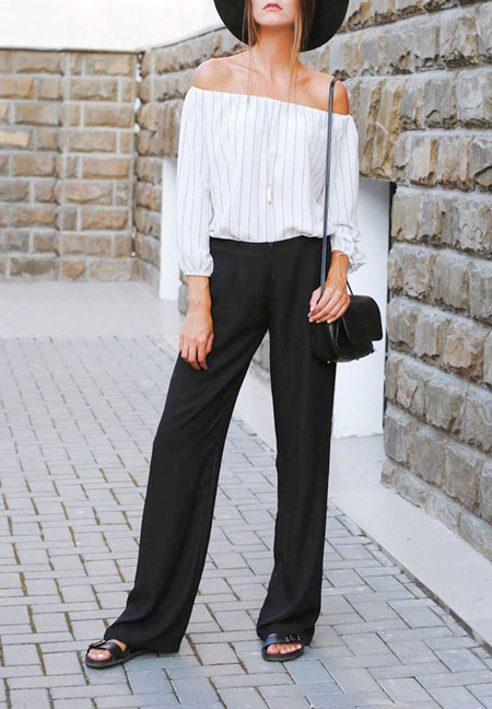 how to wear off the shoulder top - black pants