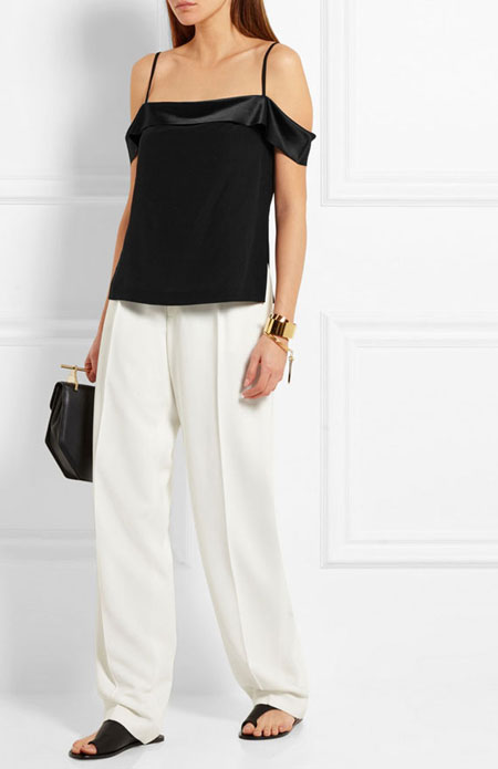 how to wear off the shoulder top - relaxed fit pants
