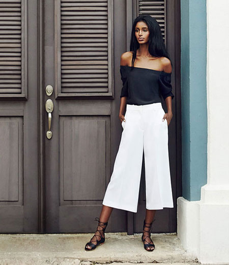 how to wear off the shoulder top - white culottes