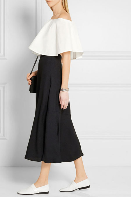 how to wear off the shoulder top - A-line midi skirt