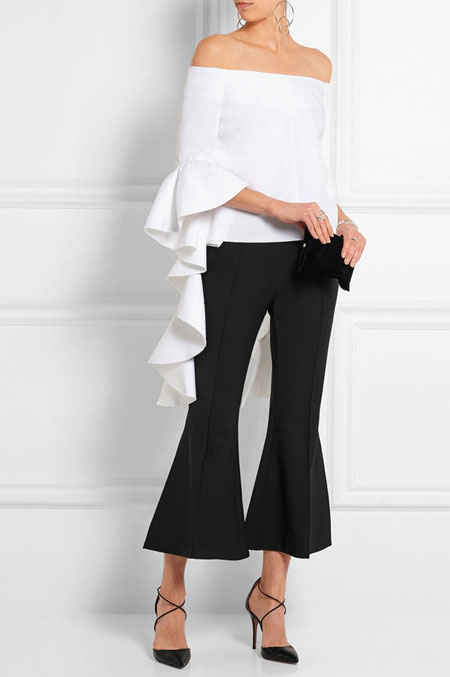how to wear off the shoulder top - flared culottes