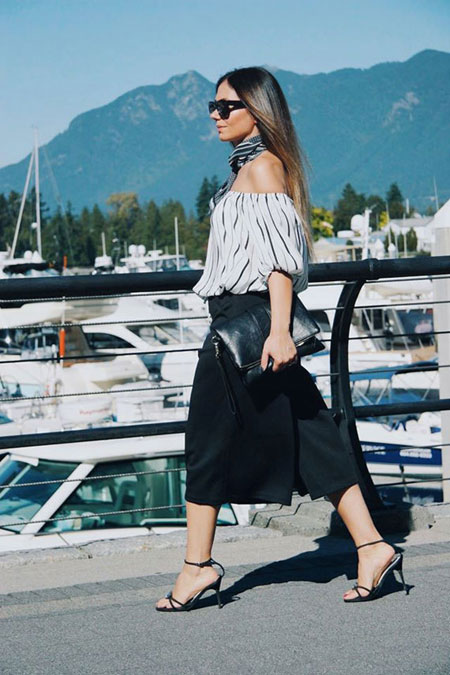 how to wear off the shoulder top - black midi skirt
