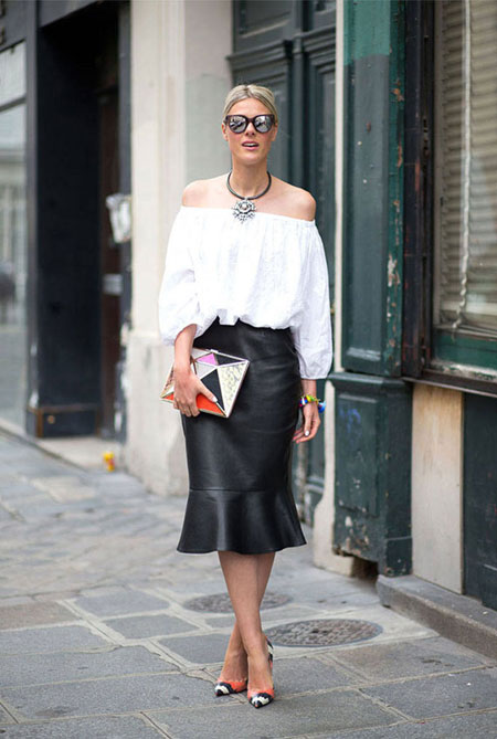 how to wear off the shoulder top - flounced skirt