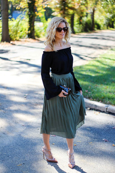 how to wear off the shoulder top - pleated midi skirt