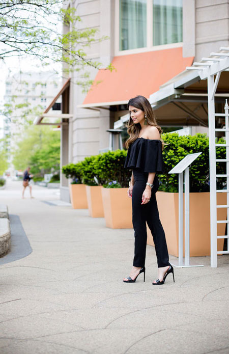 how to wear off the shoulder top - slim fit pants