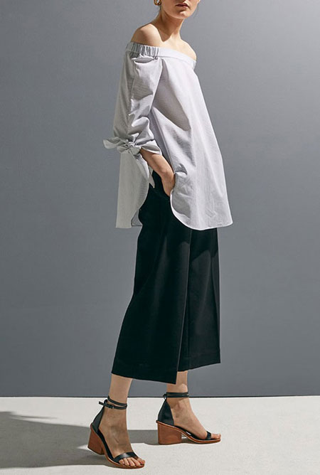 how to wear off the shoulder top - culottes