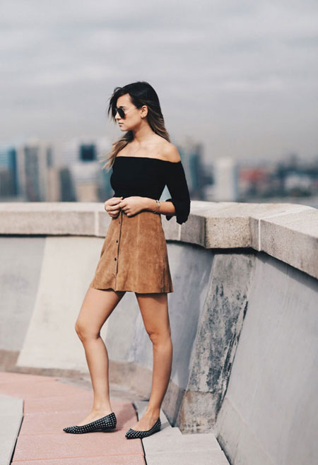 how to wear off the shoulder top - suede mini skirt