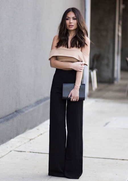 how to wear off the shoulder top - wide leg pants