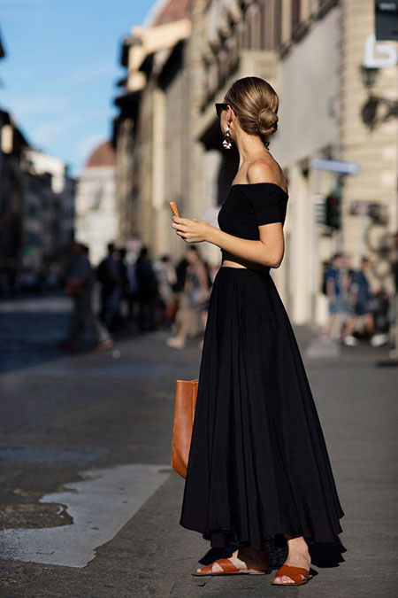 how to wear off the shoulder top - color matching maxi dress