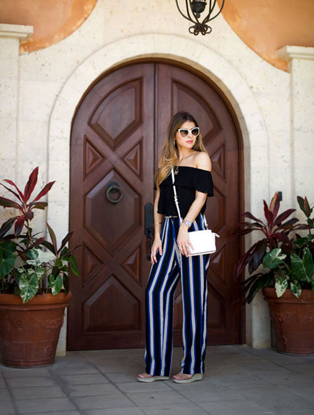 how to wear off the shoulder top - patterned pants