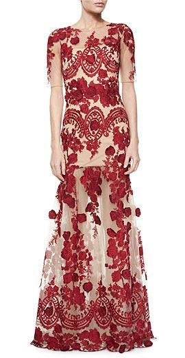 Marchesa Notte Half-Sleeve Floral-Applique Gown