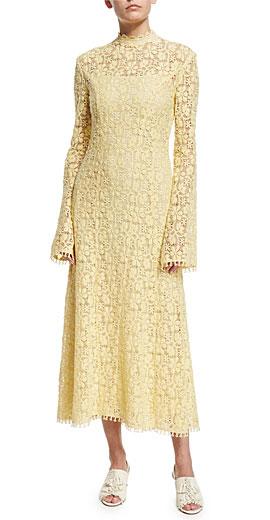 Derek Lam Mock-Neck Bell-Sleeve Lace Midi Dress