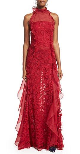 Oscar de la Renta Sleeveless Lace & Organza Gown