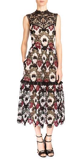 Erdem Grace Mixed Lace Midi Dress