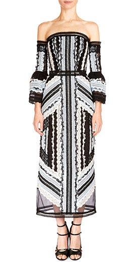Erdem Sissy Exposed-Shoulder Midi Dress
