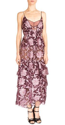 Erdem Justina Long Tiered Floral-Print Dress