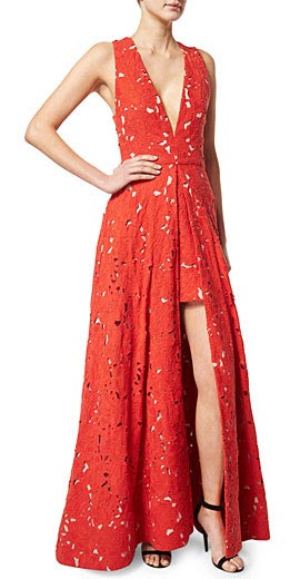 Alice + Olivia Francis Sleeveless V-Neck Flared Lace Gown
