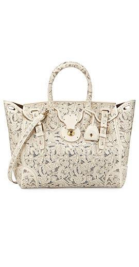 Ralph Lauren Soft Ricky 33 Lace-Cut Leather Satchel Bag