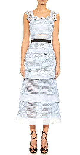 Self-portrait Petunia lace midi dress
