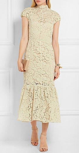 Victoria Beckham Fluted cotton-blend lace midi dress