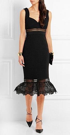 Self-Portrait Olivia guipure lace-paneled crepe dress