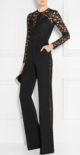 Elie Saab Lace and cady jumpsuit