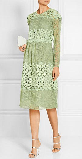 Burberry Prorsum Paneled cotton-blend lace dress