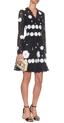 Dolce & Gabbana Cordonetto-lace daisy-embroidered dress