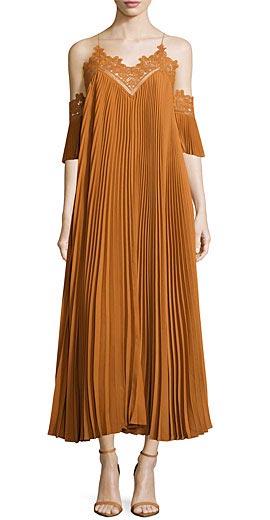 Self Portrait Pleated Chiffon Lace-Trim Midi Dress