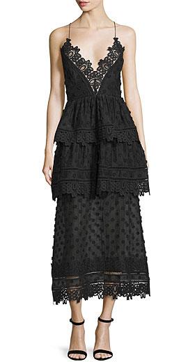 Self Portrait Sleeveless Lace-Trim Polka-Dot Midi Dress