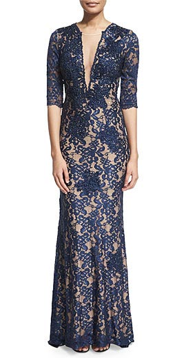 Jovani 3/4-Sleeve V-Neck Lace Mermaid Gown