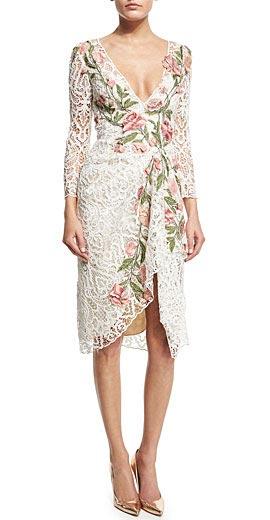 Marchesa Floral-Appliqué Lace Cocktail Dress