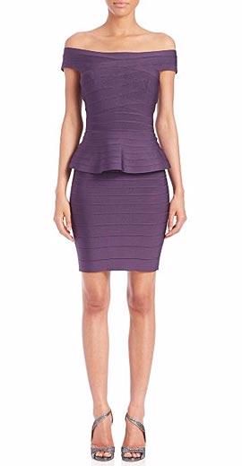 Herve Leger Off-The-Shoulder Peplum Bandage Dress