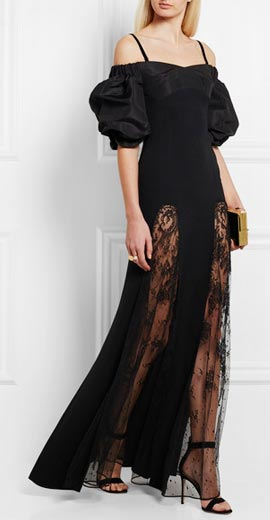 ALESSANDRA RICH Lace and moire-paneled silk-blend gown