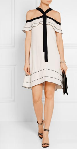 PROENZA SCHOULER Off-the-shoulder pussy-bow crepe mini dress
