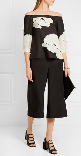 TIBI Amara off-the-shoulder printed silk-twill top