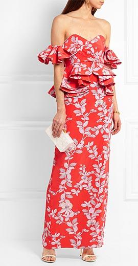 JOHANNA ORTIZ Bougainvillea embellished printed silk gown