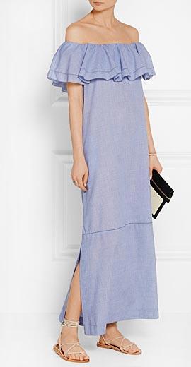 LISA MARIE FERNANDEZ Mira off-the-shoulder chambray maxi dress