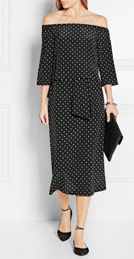 TIBI Off-the-shoulder polka-dot silk crepe de chine dress