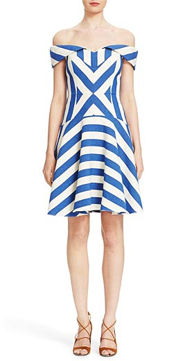 Milly 'Mariella' Stripe Off the Shoulder Fit & Flare Dress