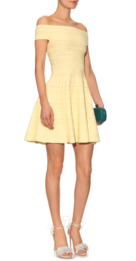 ALEXANDER MCQUEEN Off-the-shoulder knitted mini dress