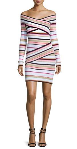 MSGM Off-the-Shoulder Striped Crossover Dress