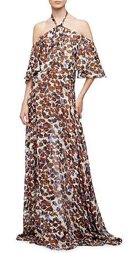 Derek Lam Halter-Neck Floral-Print Silk Chiffon Gown
