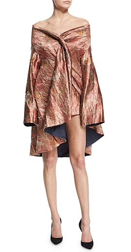 THE ROW Tere Off-The-Shoulder Metallic Jacket