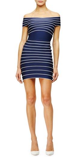 Herve Leger Off-The-Shoulder Stripe Bandage Dress