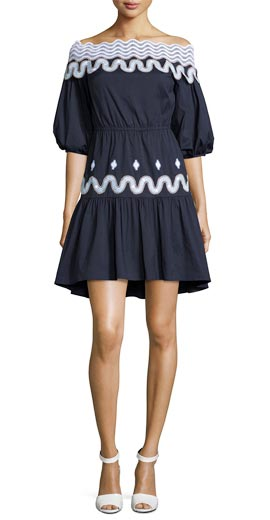 Peter Pilotto Off-the-Shoulder Full-Sleeve Dress